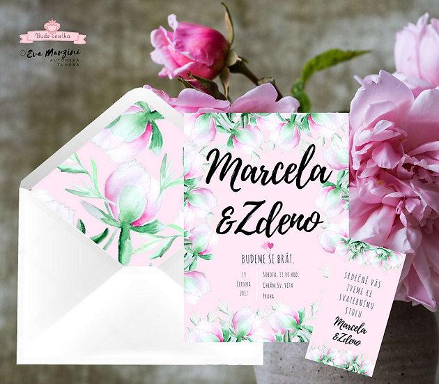Svatební oznámení růžové s poupaty pivoněk ve stylech boho vintage a rustic