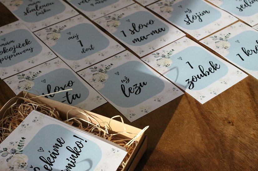 Milníkové kartičky - Grace (kluk/ci) s květinovým motivem
