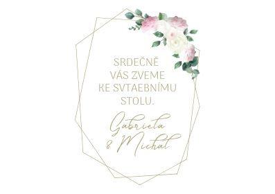 Svatební pozvánky Vintage geometry, bílá 74x105 mm