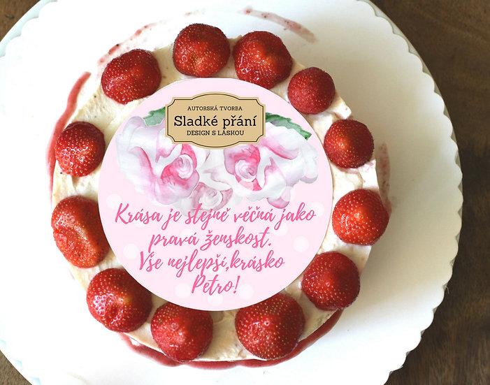 Jedlé blahopřání na dort - Růže retro dots, No.6