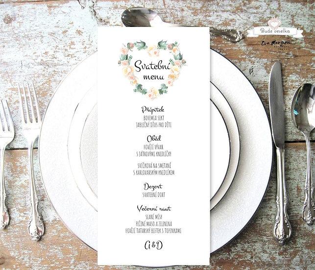 Svatební menu Srdíčko z růží, bílá - 99x210 mm tištěné