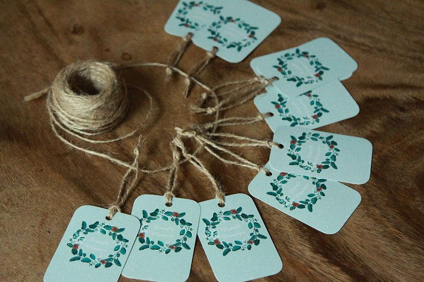 Cedulky (10 ks) na dárky Adventní sejkovec, v modré