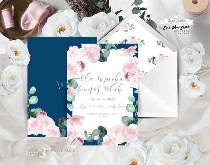 Svatební oznámení Šípkové růže, v modré a bílé - 120x170 - tištěné