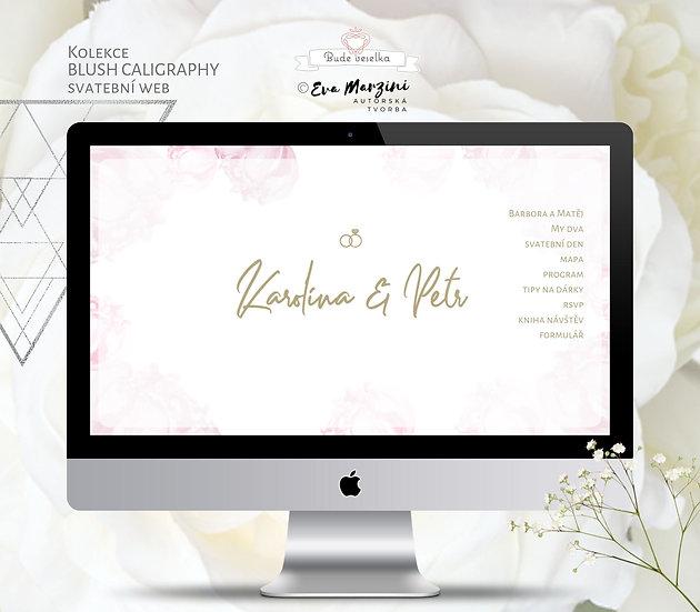 Svatební web Blush Kaligrafie bílý s pudrovými povaňkami a kaligrafickém či nordic stylu