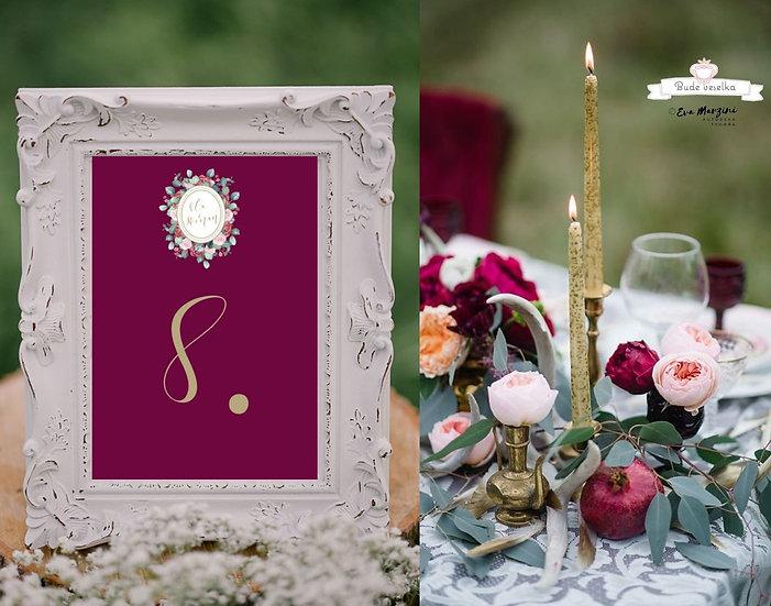 Čísla 1-10 na stoly Burgundy medailon, vínové