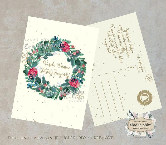 3ks Vánoční pohled Adventní Jehličí s plody, v krémové - 120x170 - tištěné
