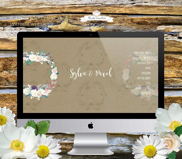 Svatební web s boho věnečkem v přírodní barvě ve stylu pro vinatge či rustic svatby.