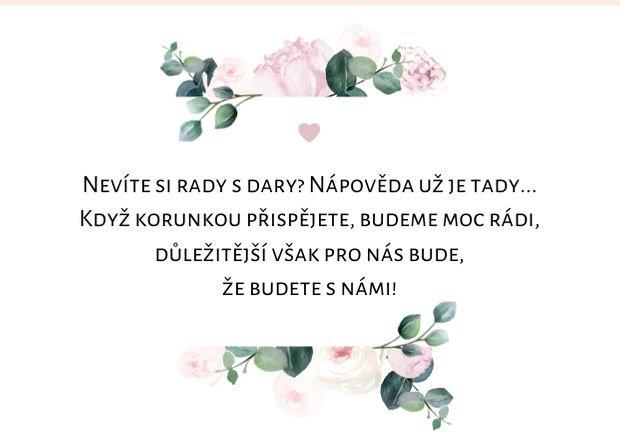 Kartička na dary Boho Pivoňky, bílá 74x105 mm
