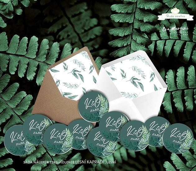 Kulaté nálepky Lesní kapradí, zelená 72 ks /45 m