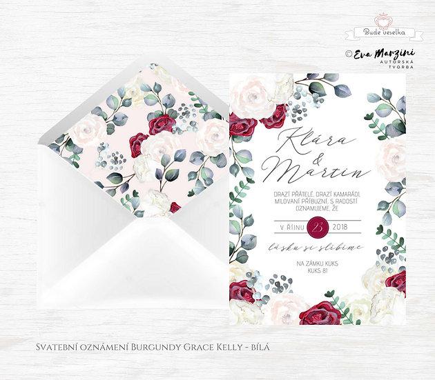 Svatební oznámení Burgundy Grace Kelly, s pudrovými pivoňkami, vínovými růžemi a eukalyptem, ve stylu rustik, vintage a boho