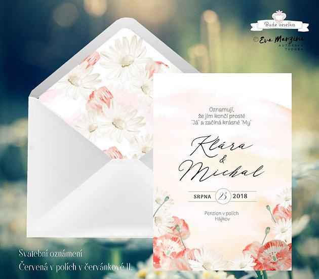Svatební oznámení červánkové a bílé s červenými máky a béžovými květy ve stylech boho vintage a rustic