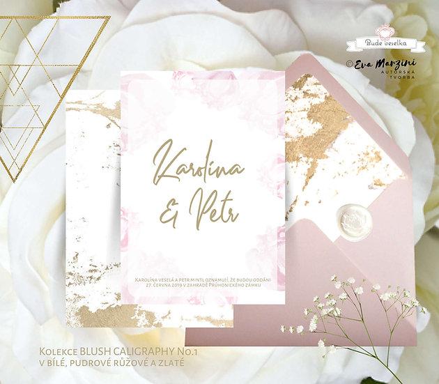 Svatební oznámení Blush kaligrafie v bílé s prvky rukopisného písma, zlatých akcentů s pudrovými pivoňkami v boho stylu