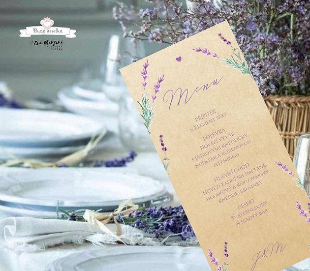 Svatební menu Levandule a něha, přírodní, 99 mm x 210 mm tištěné