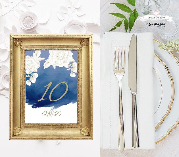 Čísla 1-10 na stoly Zlatá Krasotužka, modrá