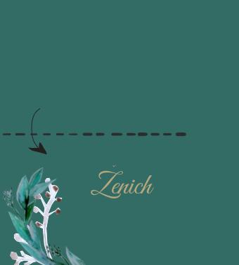 Svatební jmenovky Eucalyptus, emerald green - 90x50mm tištěné