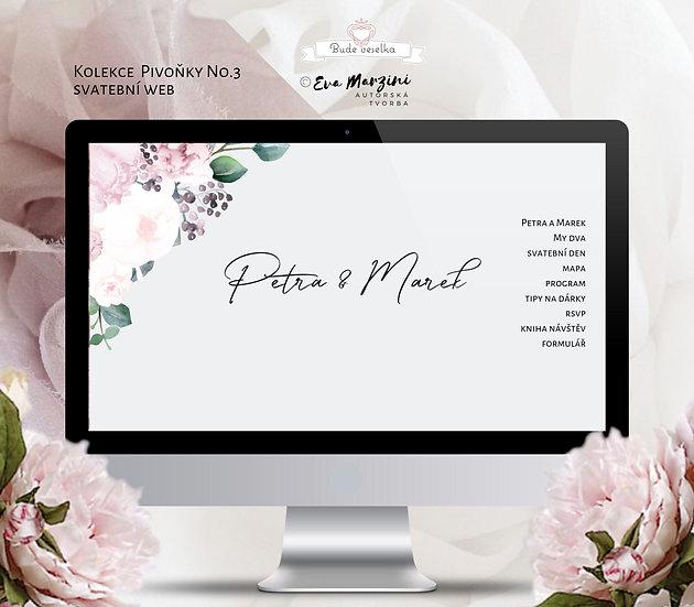 Svatební web Pivoňky No.3, v šedé a pudrové barvě v kaligrafickém, boho, vintage a rustik stylu.