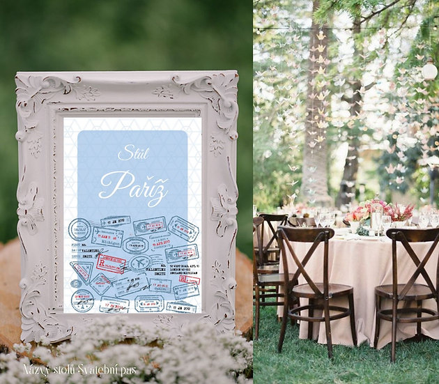 Označení 10 ks stolů Svatební pas, modré