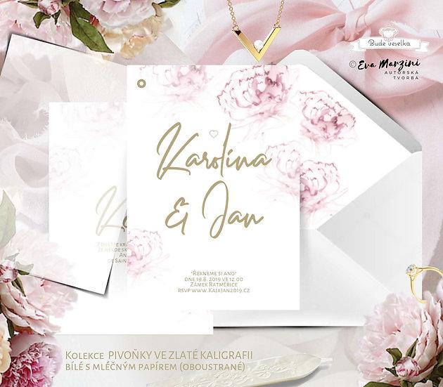 Svatební oznámení Pivoňky ve zlaté kaligrafii, bílé tištěné v boho a nordic stylu