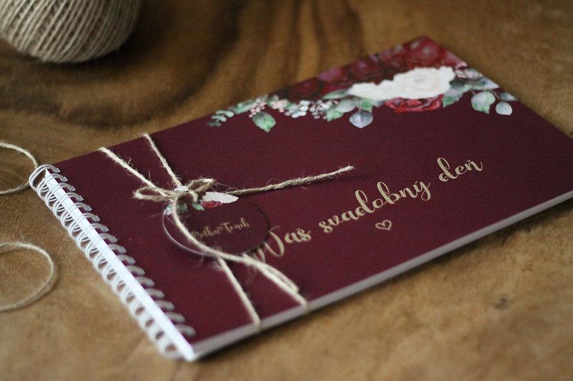 Kniha přání Burgundy polka, vínová 297x210, tištěná