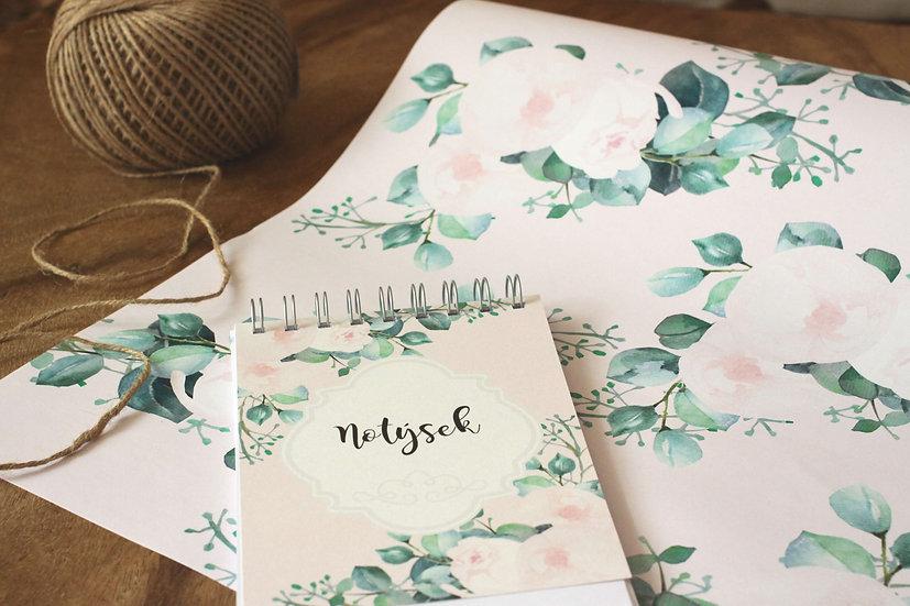 Notýsek, poznámkový sešit, bloček či zápisník s pivoňkami pudrový růžový