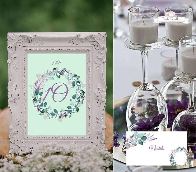 Čísla 1-10 na stoly Boho lila věneček, v bílé/mint