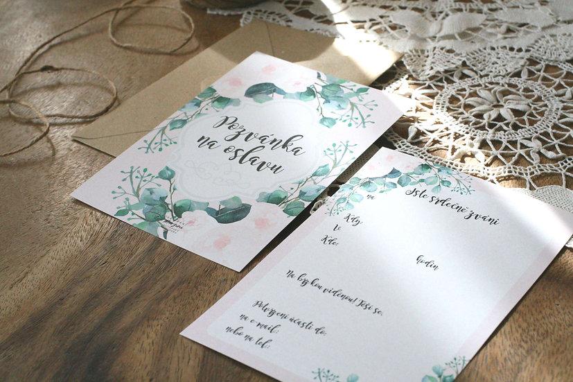Pozvánky k narozeninám, na párty či na oslavy s růžovými květy v přírodní a boho stylu, s květinovou obálkou v designu