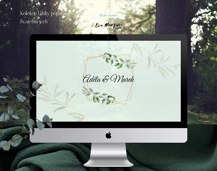 Svatební web s lístky v barvě mint ve stylu pro přírodní či rustic svatby.