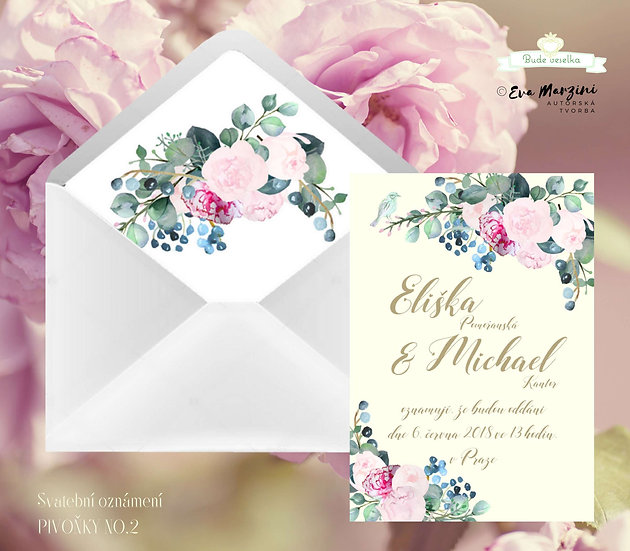 Svatební oznámení s pivoňkami v bílé, růžové, modré s ptáčkem ve stylech boho vintage a rustic