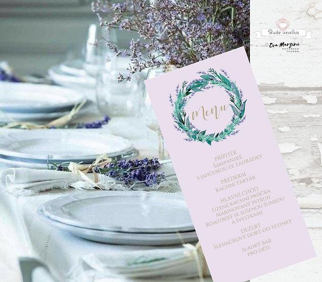 Svatební menu Levandule/eucalyptus, v lila, 99 mm x210 mm tištěné