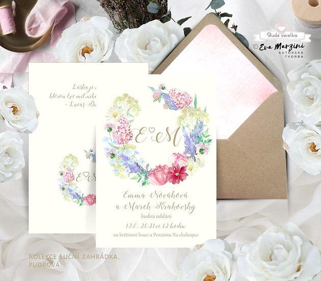 Svatební oznámení Luční zahrada, ivory s barevnými lučními květy a bylinami