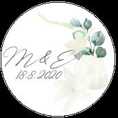 Kulaté nálepky Bílá sláva, v bílé, 72 ks /45 mm