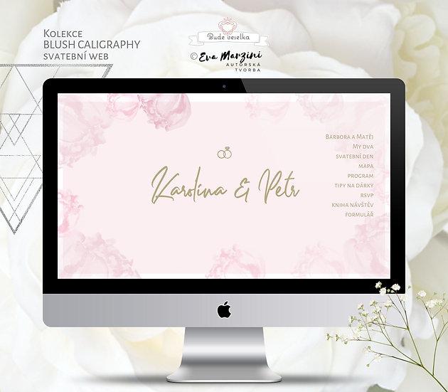 Svatební web Blush Kaligrafie růžový s pudrovými povaňkami kaligrafickém, boho či nordic stylu