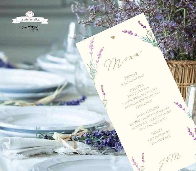 Svatební menu Levandule a něha, v ivory, 99 mm x 210 mm tištěné