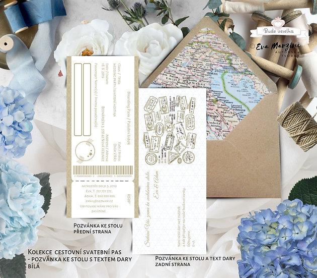 Svatební pozvánka s textem na dary Svatební pas, bílá/zlatá, 75x165 mm