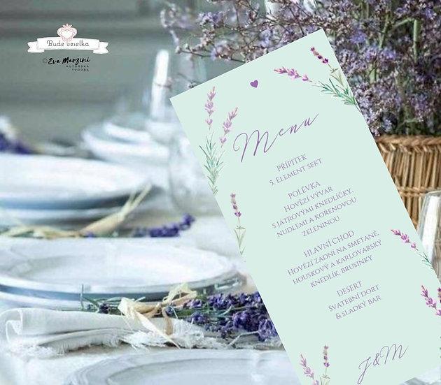Svatební menu Levandule a něha, v mint, 99 mm x 210 mm tištěné