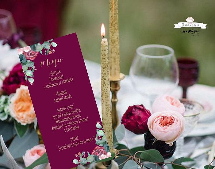 Svatební menu Burgundy medailon, ve vínové, 99 mm x 210 mm tištěné