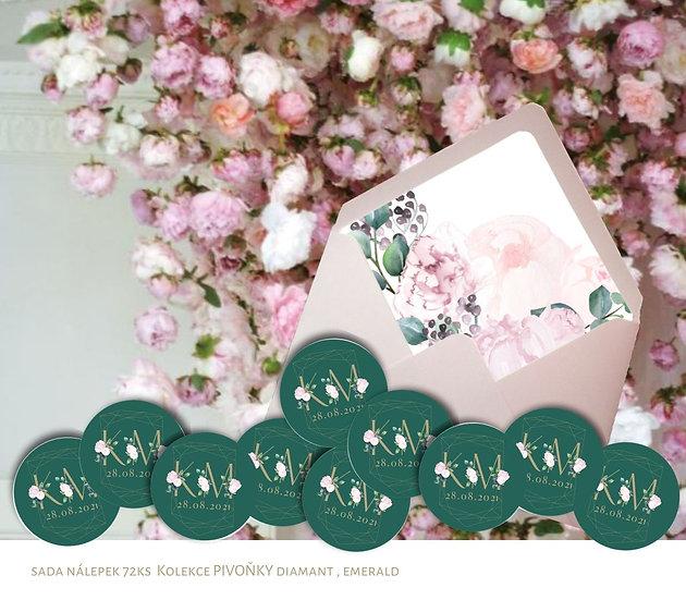 Kulaté nálepky Pivoňky diamant, smaragdová 72 ks /45 m
