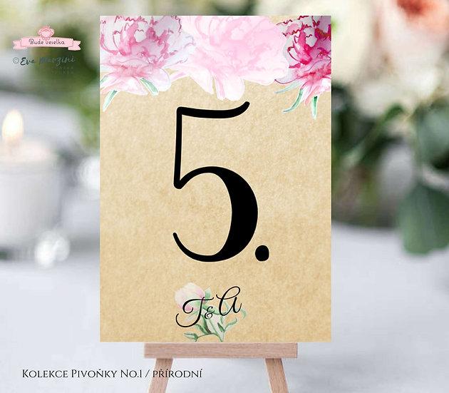 Čísla 1-10 na stoly Pivoňky No.1, přírodní