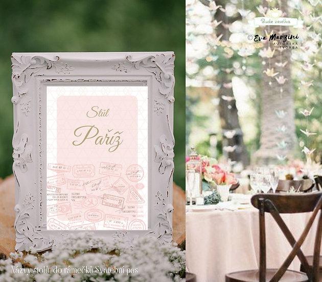 Označení 10ks stolů Svatební pas, pudr růžové