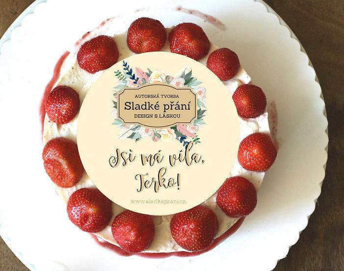 Jedlé blahopřání na dort - Sladké přání No.2