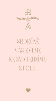 Svatební pozvánky/ na dary Modern vinatge - v růžové / zlaté, 90x50/100mm ti