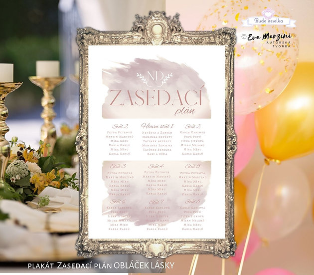 Plakát Zasedací plán Obláček lásky, A3 - růžová - tištěný