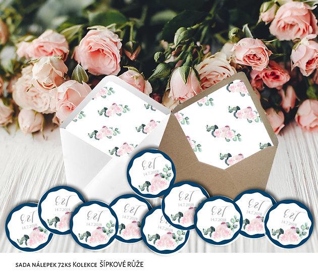 Kulaté nálepky Šípkové růže, modré, 72 ks /45 mm
