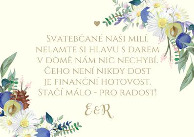 Svatební kartičky na dary Luční veselka - krém, 75x105 mm