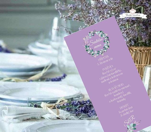 Svatební menu Boho lila věneček, ve fialové, 99 mm x 210 mm tištěné