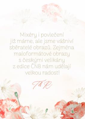 Kartička na dary Červená v polích, červánková I. - 75x105 mm tištěné