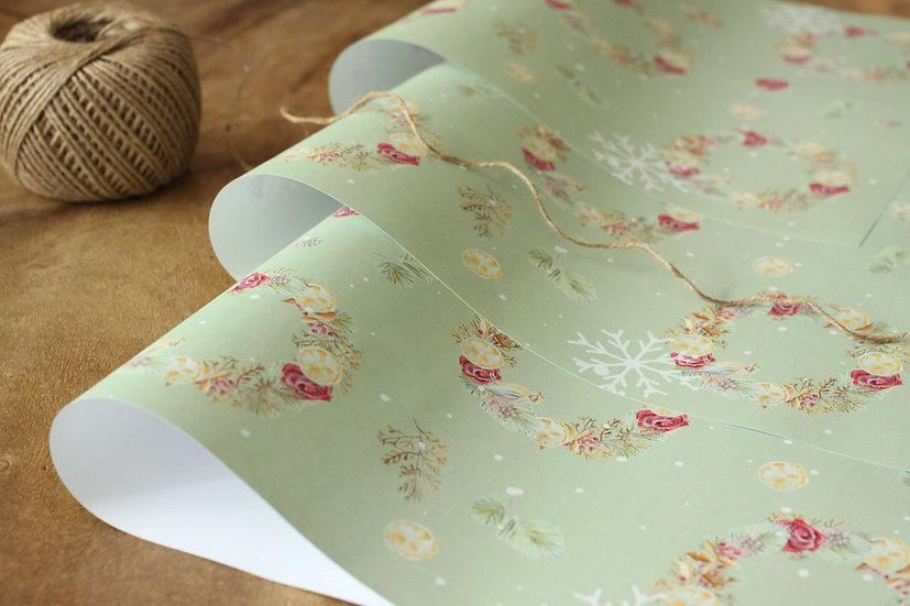 Dárkový balící papír Adventní Burgundy, zelený