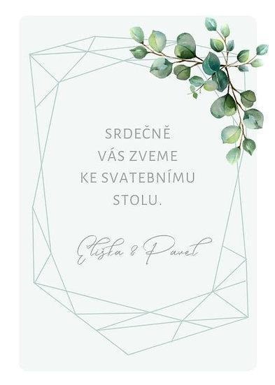 Svatební pozvánka Eucalyptus diamant, mint 74x105 mm