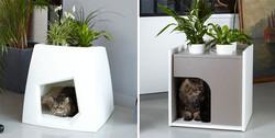 Květinový kočičí domeček