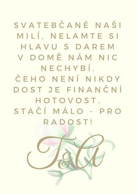 Svatební pozvánky / na dary Pivoňky No.1 - krémová, 75x105 mm